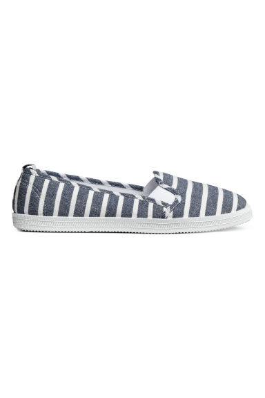 Slip-on trainers - Dark blue/Striped - Ladies | H&M 1